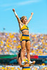 Mountaineer cheerleader performs for fans. WVU football team faced off against James Madison on August 31, 2019. (WVU Photo/Parker Sheppard)