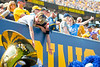 Two young Mountaineer fans excited to get high fives from the marching band. WVU football team faced off against James Madison on August 31, 2019. (WVU Photo/Parker Sheppard)