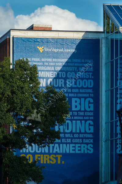 The Mountainlair wall mural one late summer evening. (WVU Photo/Hunter Tankersley)