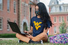 WVU Freshman Haley Miller Psychology St. Albans WV. studies on her laptop at Woodburn Circle on the Downtown WVU Campus as students return to the WVU Campus for the first day of classes during the Covid-19 pandemic August 26, 2020. (WVU Photo/Greg Ellis)