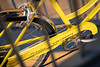 A classic Schwinn Collegiate Bicycle hangs in the WVU Wise Library WVU Downtown Camp welcoming incoming Freshmen students as students return to the WVU Campus for the first day of classes during the Covid-19 pandemic August 26, 2020. (WVU Photo/Greg Ellis)