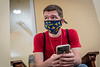 WVU Freshman Andrew Keener Biology Albans WV.  reviews his class schedule at the Wise Library WVU Downtown Campus as students return to the WVU Campus for the first day of classes during the Covid-19 pandemic August 26, 2020. (WVU Photo/Greg Ellis)