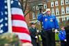 28684S0148xx , Veteran Bugler, Mark Krofek representing VFW post 9916 Westover WV ; salutes during bell ringing at WVU Pearl Harbor Day ceremony on Oglebay Hall Plaza.