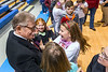 WVU President E Gordon Gee greets student at the Hour of CODE event  Mylan Park Elementary School Morgantown WV December 8, 2017. Photo Greg Ellis