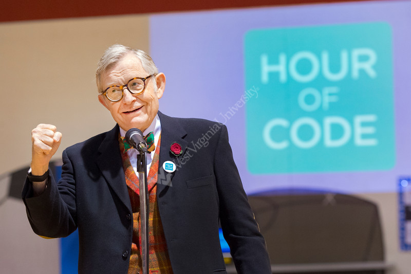 WVU President E Gordon Gee encourages student to learn coding at the Hour of CODE event  Mylan Park Elementary School Morgantown WV December 8, 2017. Photo Greg Ellis