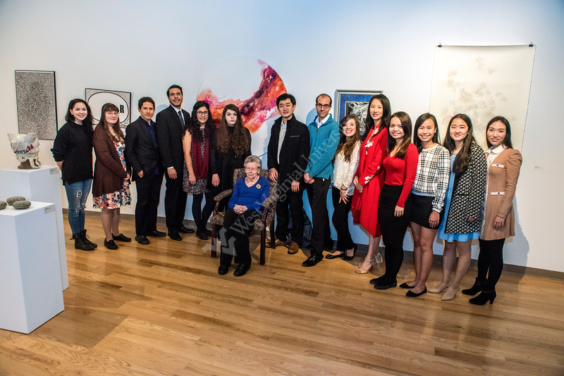 Students in the Creative Arts Center gather for the Canary Scholarship Reception in the Mesaros Gallery of the CAC November December 1st, 2017.  Photo Brian Persinger