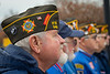 Members of the military active, retired and the WVU community come together at the Mast Head of the USN Battleship West Virginia on the WVU campus to remember the attack on Pearl Harbor December 6, 2019. (WVU Photo/Greg Ellis)