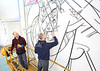 How and Nosm paint mural on new WVU museum wall<br /> WVU Photo/Raymond Thompson