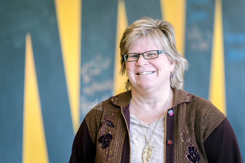 Jeri Miller Office Administrator of WELLWVU poses for a photo in the  WVU Health and Education Building February 1, 2018. Photo Greg Ellis