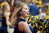 A WVU Cheerleader performs during WVU Men's Basketball action vs Iowa State Febuary 5, 2020. (WVU Photo/Greg Ellis)