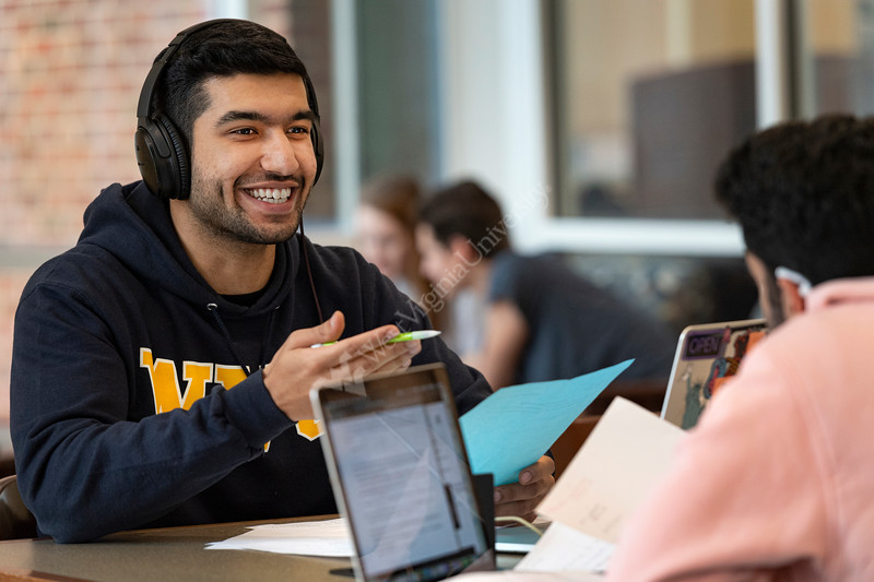 WVU students study in the WVU Downtown Library Morgantown WV. February 18, 2020. (WVU Photo/Greg Ellis)
