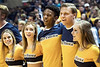 WVU cheerleaders sing Country Roads capping off the WVU Mountaineers defeat of the Baylor Bears 57-54, January 9, 2018. Photo Greg Ellis