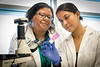Candice Brown, PhD. Assistant Professor Rockefeller Neuroscience Institute (L) works with Sneha Gupta, a second-year School of Medicine student (R) at the Erma Byrd Biomedical Research Building   January 29, 2018. Photo Greg Ellis