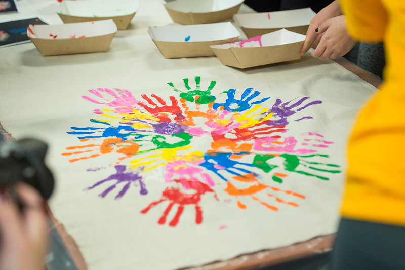 Volunteers painted murals for local middle schools on MLK day in the Mountainlair on January 21, 2019.