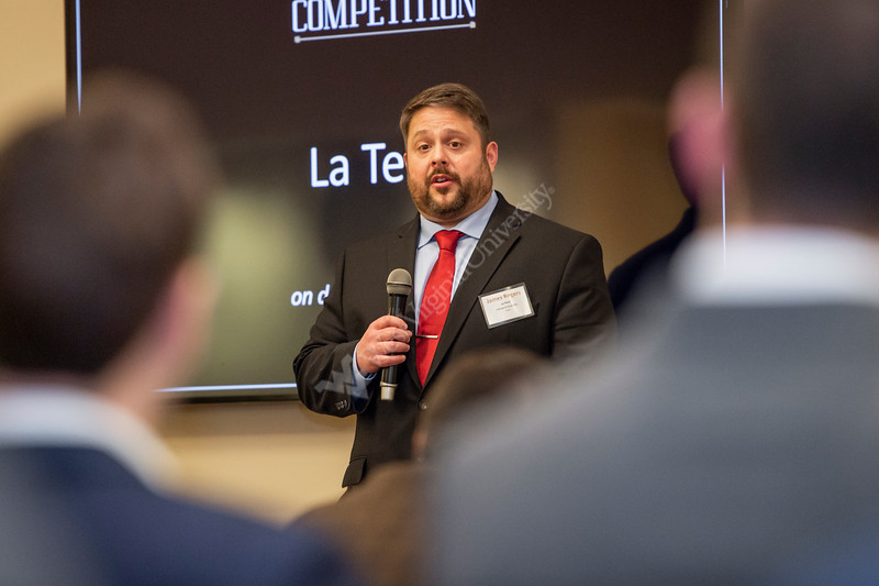 James Rogers shares his elevator pitch to a group of judges. Semifinalists compete in the Business Plan Competition Semifinals at the Falcon Center in Fairmont, WV on January 31, 2020. (WVU Photo/Parker Sheppard)