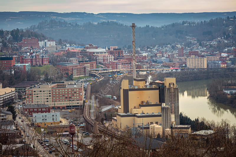 The Coal Fired Morgantown Energy Associates Beechurst power plant seen here is slated to be converted to gas-fired operation but is expected to continue to provide steam heat to West Virginia University's two Morgantown campuses. Morgantown WV January 23, 2020. (WVU Photo/Greg Ellis)