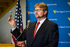 Dr. Brian J. Anderson the Verl O. Purdy Chair of Engineering at West Virginia University Statler College and Director of the WVU Energy Institute addresses the audience at the Rare Earth Extraction Facility Commissioning ceremony holding a sample of the sludge used in the recovery of Rare Earth materials. The event was held Wednesday July 18, 2018. Photo Greg Ellis