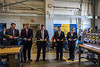 Members of the platform party at the Rare Earth Extraction Facility Commissioning  ceremony cut the ribbon opening the facility Wednesday July, 18, 2018. Photo Greg Ellis