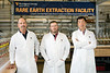 Members of the WVU Rare Earth Extraction team from left: Paul Ziemkiewicz, director of the West Virginia Water Research Institute, Chris Vass, environmental technologist, West Virginia Water Research Institute and Xingbo Liu, co-PI, professor and associate chair of research, Mechanical and Aerospace Engineering, Benjamin M. Statler College of Engineering and Mineral Resources pose for a photo in their lab at the NRCCE, July 11, 2018.  Photo Greg Ellis