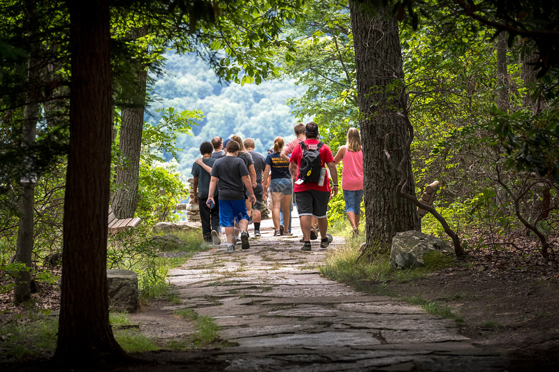 WV 4H Middle school students taking part in the WVU ArgiSTEM Camp held at Coopers Rock State Forest walk to the overlook July 24, 2018. Photo Greg Ellis