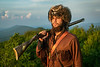 WVU Mountaineer Mascot 67, Colson Glover a native of Lewisburg poses for photos at Haning Rock near his hometown, July 21, 2020. (WVU Photo/Greg Ellis)