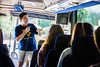 Tour Guides from the Visitors Center take prospective students on a campus tour of the Downtown and Evansdale campus July 31st.  Photo Brian Persinger
