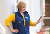 """WVU staff and students model WVU trademarked clothing and apparel for the trunk show and sales event """"2017 Ladies Huddle"""" August 20, 2017 at the Milan Puskar Stadium. Photo Greg Ellis"""