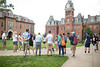 Megan Buchheit leads a group on a campus tour on June 27, 2019.