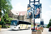 Banner photographed outside The Mountainlair with a WVU shuttle in the background on June 27, 2019. Photo Parker Sheppard