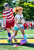 Aspiring female soccer player Olivia Lupo participates in the women's World Cup soccer camp,  part of the WVU summer camps program June 9, 2017 2017. Photo Greg Ellis