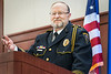 WVU Police Chief of 28 years Bob Roberts  selected 2018 Chief of the Year by the National Association of Campus Safety Administrators, tells stories, jokes and high points of his career at his retirement ceremony Erickson Alumni Center June 27, 2018. Photo Greg Ellis