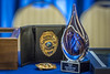 WVU Police Chief of 25 years Bob Roberts, retirement badge and fob are displayed at his retirement ceremony Jun 27, 2018. Photo Greg Ellis