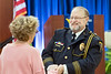 WVU Police Chief of 28 years Bob Roberts  selected 2018 Chief of the Year by the National Association of Campus Safety Administrators, greets Ann Berry WVU Assistant Vice President for Marketing and  Outreach at his retirement ceremony Erickson Alumni Center June 27, 2018. Photo Greg Ellis