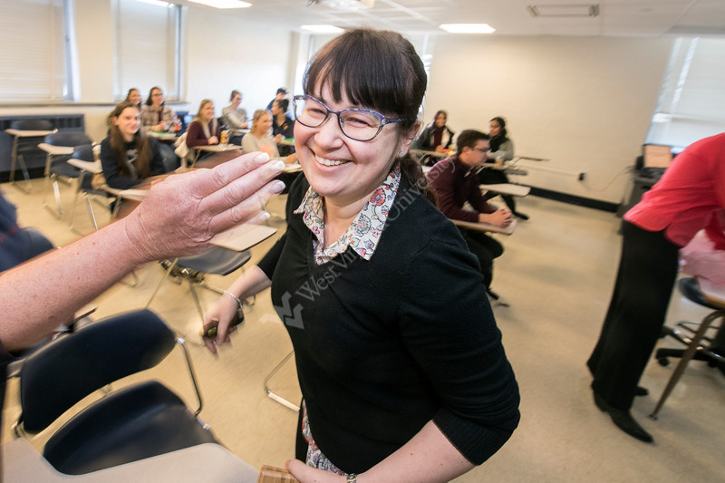 Cerasela Dinu is presented an academic advising mentoring award during a surpise visit by members of the Statler College of Engineering and the Office of the Provost in the Engineering Sciences Building March 26th, 2019.  Photo Brian Persinger
