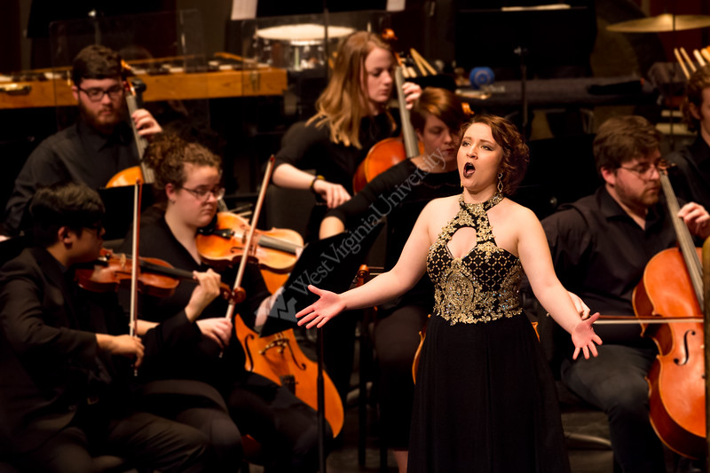 Bonnie Jo Blanchard, a performance major, showcases her vocal talent at the Lyell B. Clay Theatre on March 6, 2019.