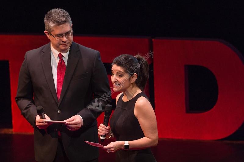 Hosts April Kaull and Eric Minor introduce the next speaker at the second annual TEDx Talk at the CAC on March 2, 2019.