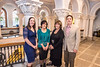 Michelle Poland, Barbara Griffin, Carolyn Atkins and Evan Widders pose on the second floor of Stewart Hall March 28th, 2017.  They are all recipients of the Nick Evans Advising Award for 2016-2017