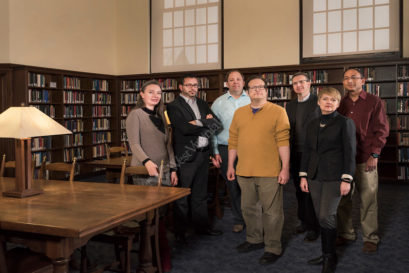 WVU Faculty Fellows are seen here in the Robinson Reading room Downtown library March 14, 2017. L to R, Renee Nicholson, Multi-Disciplinary Studies, Eberly College of Arts and Sciences, Dr. Joshua Arthurs, History, Eberly College of Arts and Sciences, Dr. Bryan C. McCannon, Economics, College of Business and Economics, Dr. Adam Komisaruk, English, Eberly College of Arts and Sciences, Dr. Erik Herron, Political Science, Eberly College of Arts and Sciences, Dr. Rhonda Reymond, Art History, College of Creative Arts, Dr. Nanda Surendra, Management and Information Sciences, College of Business and Economics.