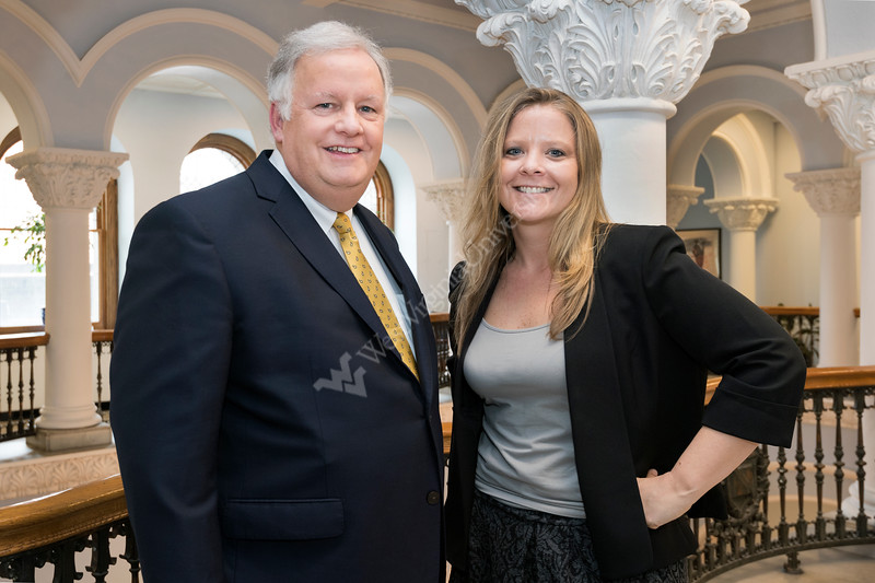WVU Faculty Award winners L to R Dan McNeil and Geah Pressgrove are seen here March 3 2017, inside of Stewart Hall. Photo Greg Ellis