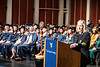 Huntington, W.V. Fire Chief Jan Rader addresses the crowd during the School of Public Health Commencement May 10th, 2019.  Photo Brian Persinger