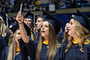 WVU CEHS graduate Samantha Comport makes a video for herself and friends singing Country Roads capping the CHES May Commencement May 11, 2019. Photo Greg Ellis