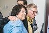 WVU President Gordon Gee hugs outgoing Provost Joyce McConnell during a farewell event hosted by The Office of the Provost at the Law School May 13th, 2019.  Photo Brian Persinger   he Office of the Provost hosts a farewell for outgoing Provost Joyce McConnell at the Law School May 13th, 2019.  Photo Brian Persinger