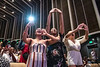 Jessica Tardencilla, Hannah Davis and Brianna Hersher cheer on sorority sister Victoria Smith as she receives her diploma during the School of Public Health Commencement at the CAC May 10th, 2019.  Photo Brian Persinger