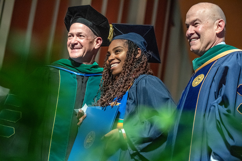 Victoria Smith poses for photograhs with School of Public Health Dean Jeffrey Coben and VP of Health Sciences Clay Marsh during the School of Public Health Commencement at the CAC May 10th, 2019.  Photo Brian Persinger