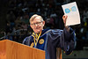 WVU President E. Gordon Gee displays a note from a WV grade school student admire at the Statler May Commencement bringing graduates, family and friends together at the WVU Coliseum to celebrate graduates' achievements, May 11, 2019. Photo Greg Ellis