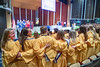 Honors College graduates laugh and sing Country Roads during the conclusion of the Medallion Ceremony at the CAC April 9th, 2019.  Photo Brian Persinger