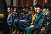 School of Public Health Dean Jeffrey Coben listens to Huntington, W.V. Fire Chief Jan Rader address the crowd during the School of Public Health Commencement at the CAC May 10th, 2019.  Photo Brian Persinger