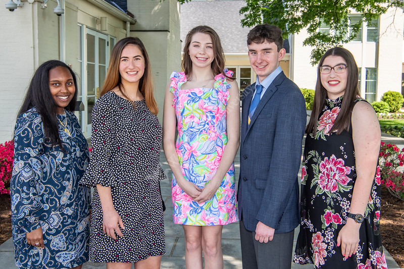 Marleah Knights, Daisy Levine, Piper Cook, Michael DiBacco and Lillian Bischof are recognized as the 2019 Foundation Scholars at Blaney House May 7th, 2019.  Photo Brian Persinger