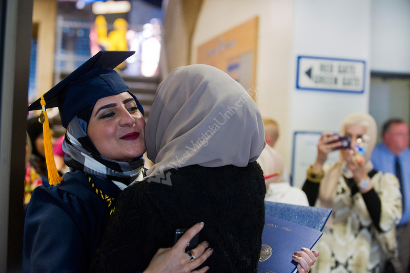 28343s0293xx  Abrar Alaly a Biology major of Kuwait celebrates with her mom Azza Aldusain of Kuwait following the Eberly Commencement Sunday May 13th, 2012.