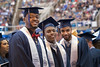 WVU student athletes, basketball players L to R Elijah Macon, Teyvon Myers and Tarik Phillip, pose for photo at the  May 14, 2017,  Eblery College Commencement. Photo Greg Ellis